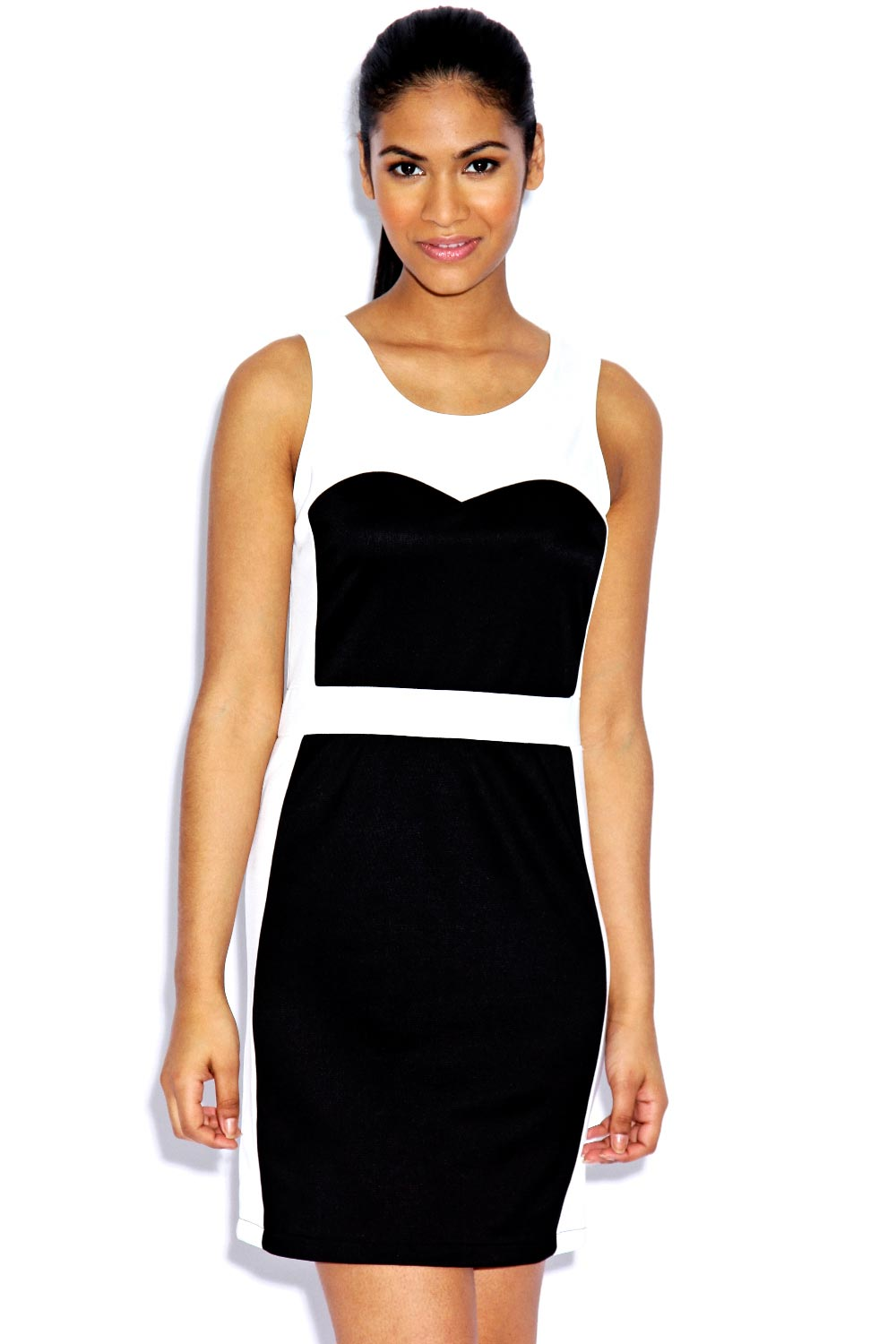 Boohoo-Hatty-Monochrome-Sweetheart-Bodycon-Dress-BNWT