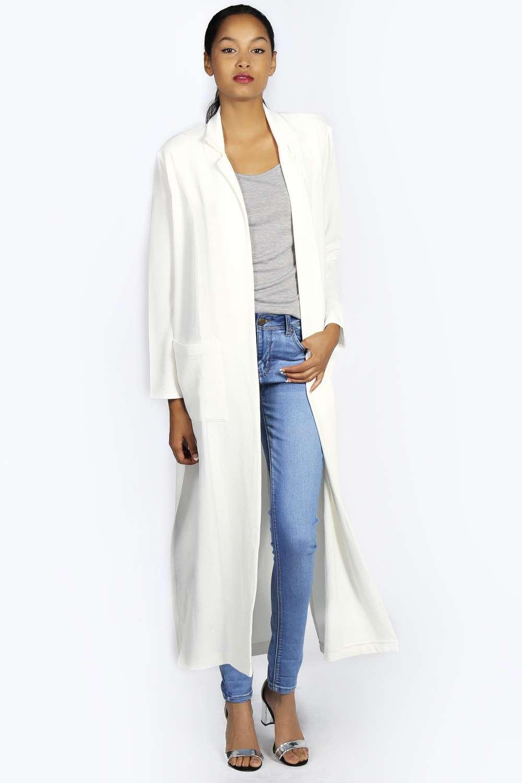 Boohoo Womens Linn Long Sleeve Full Length Split Side Duster Top Coat