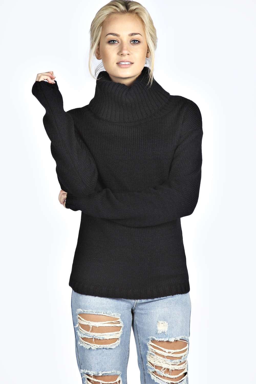 Boohoo womens emma cowl neck soft knit long sleeve top