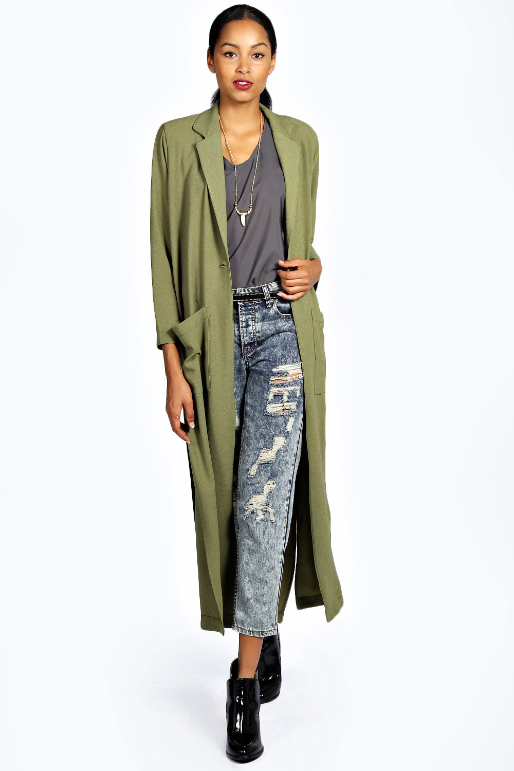 boohoo womens camille long sleeve full length duster top coat in khaki ebay. Black Bedroom Furniture Sets. Home Design Ideas