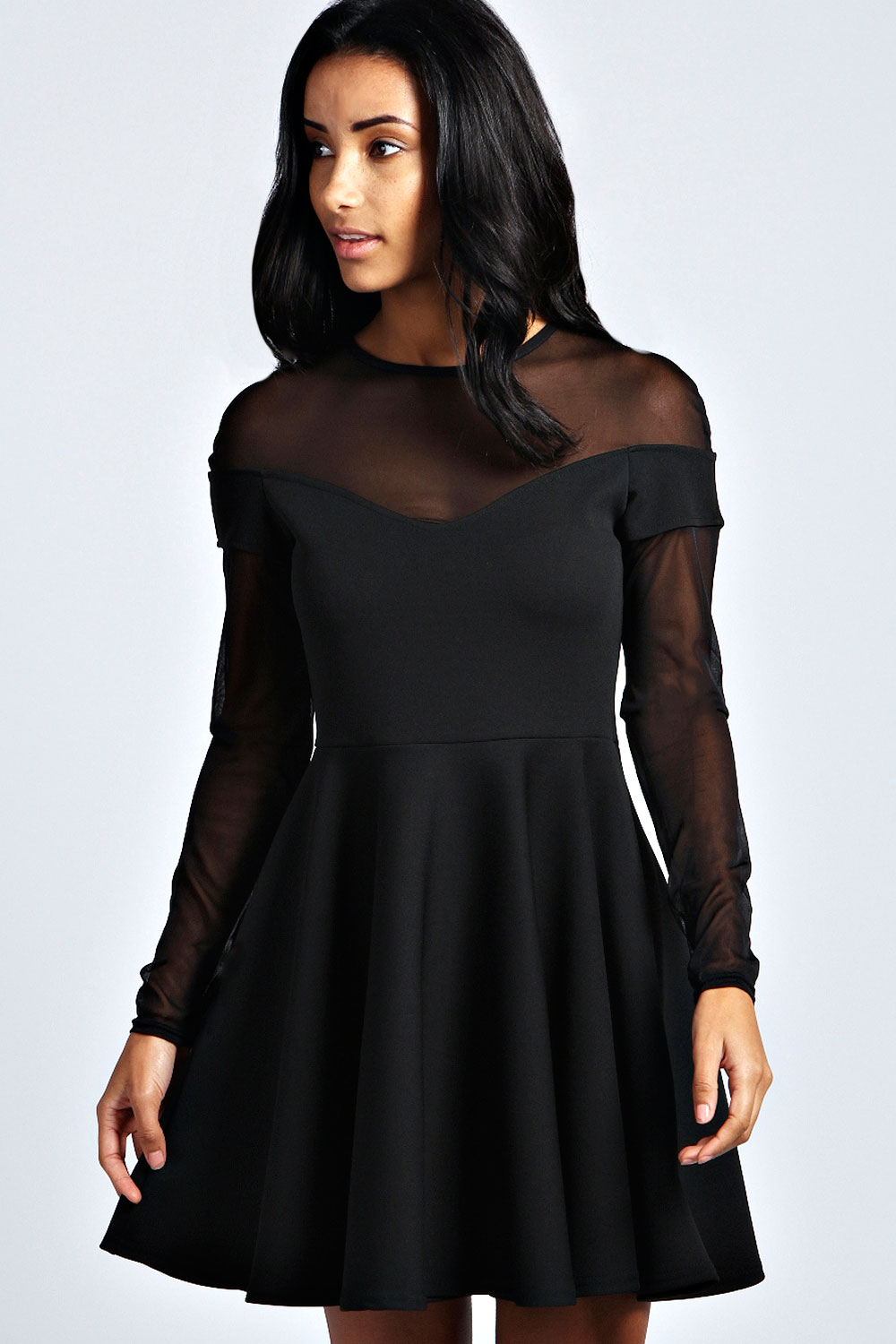Boohoo-Womens-Layla-Hip-Length-Long-Sleeve-Sweetheart-Neck-Mesh-Skater-Dress
