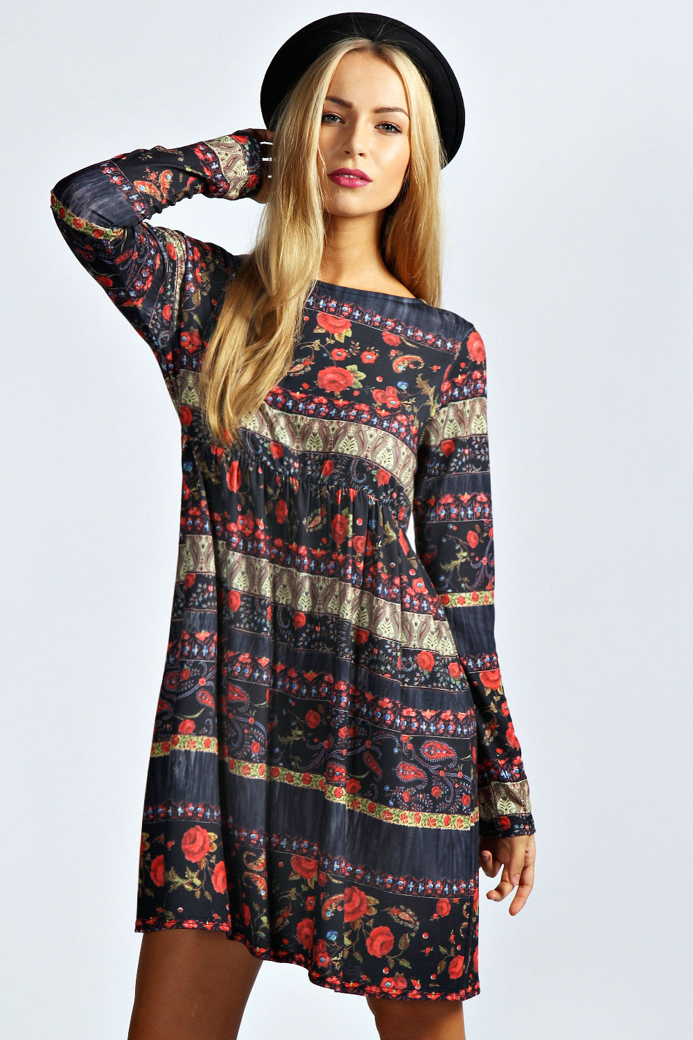 Boohoo Womens Ladies Taylor Floral And Paisley Print Smock Dress In Multi