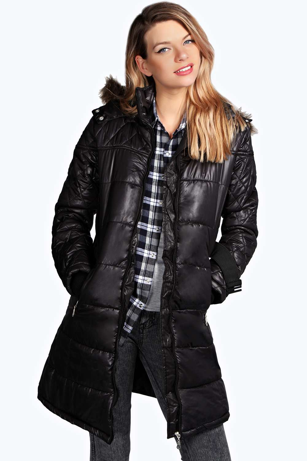 Boohoo Womens Ladies Rachel Belted Padded Coat Jacket Fur Trim ...
