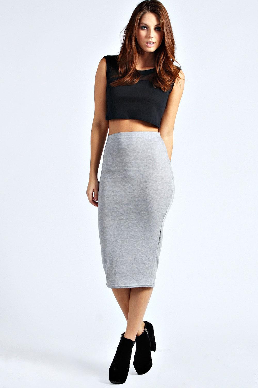Boohoo Womens Ladies Lexi Calf Length Midi Jersey Tube Skirt | eBay