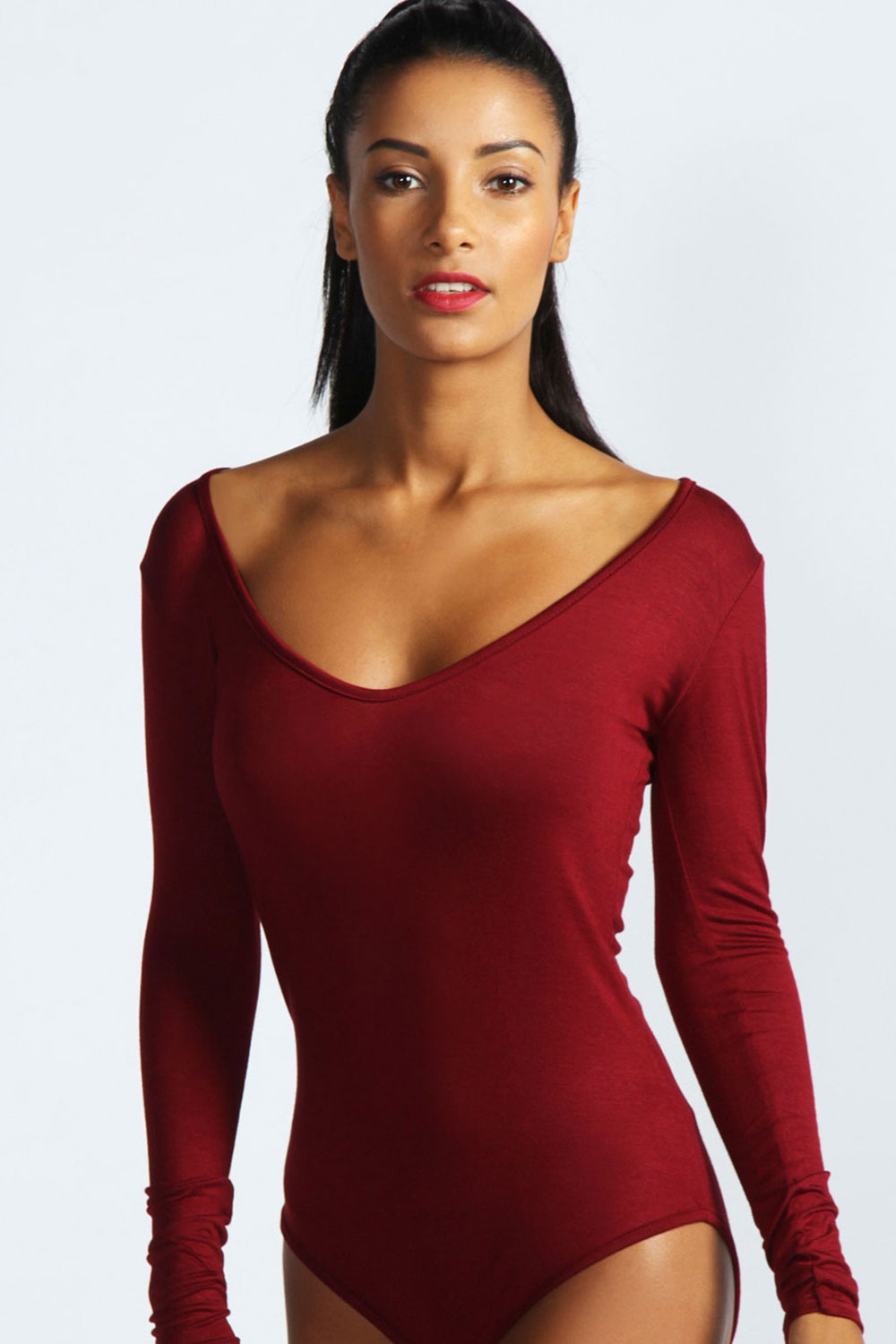 Boohoo-Womens-Ladies-Jennie-Long-Sleeve-V-Neck-Bodysuit