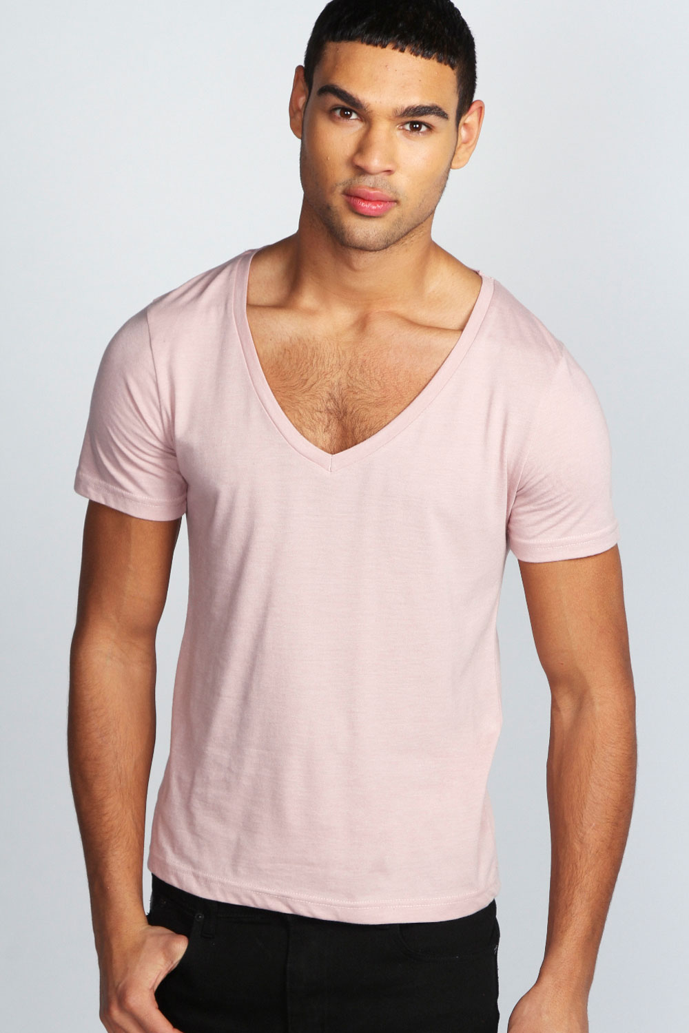 Boohoo Mens Basic Short Sleeve Deep V Neck Tee Top T Shirt