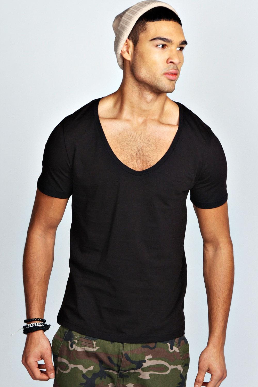 Boohoo mens short sleeve waist length deep v neck 100 for Best v neck t shirts