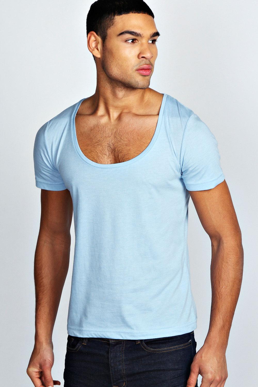 Boohoo mens short sleeve waist length basic scoop neck top for Short t shirt men
