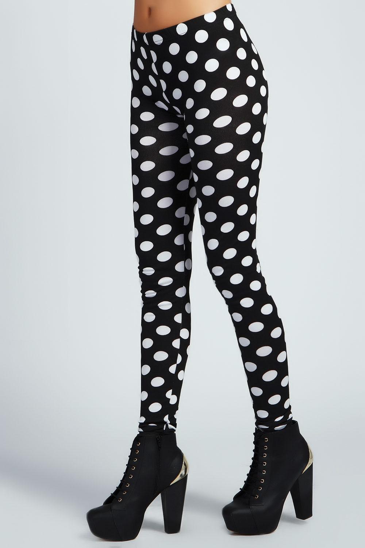 Boohoo Ruby Monochrome Polka Dot Leggings in Black | eBay