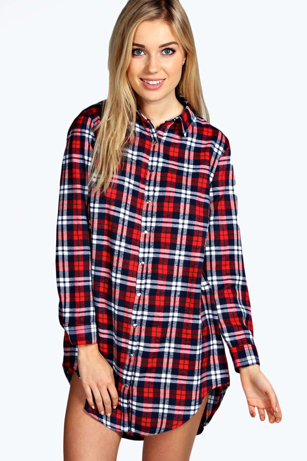 Boohoo Womens Ava Flannel Check Oversized Night Shirt Sleepwear Long Sleeve