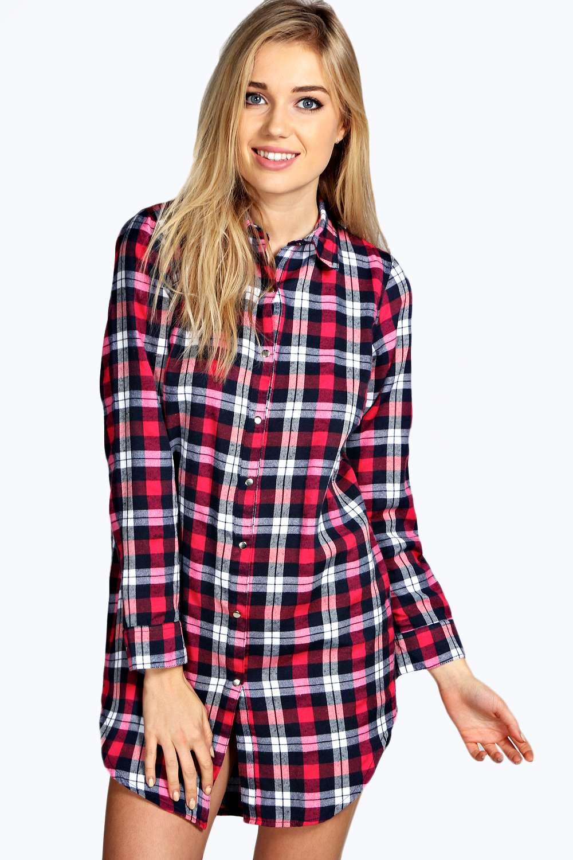 boohoo womens ava flannel check oversized night shirt. Black Bedroom Furniture Sets. Home Design Ideas