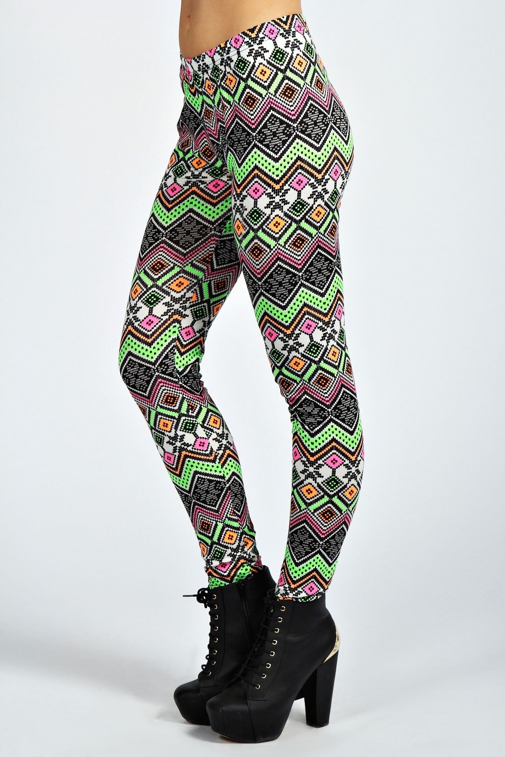 Boohoo-Womens-Ladies-Tia-Neon-Zig-Zag-Leggings-In-Multi