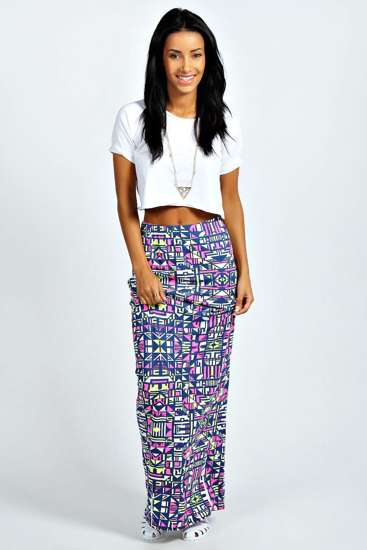 boohoo womens lena neon geometric maxi skirt in