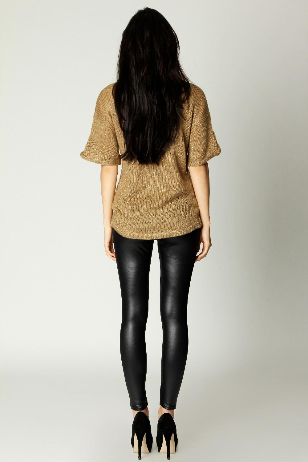 Boohoo carla wet look leggings in black style notes style notes wet