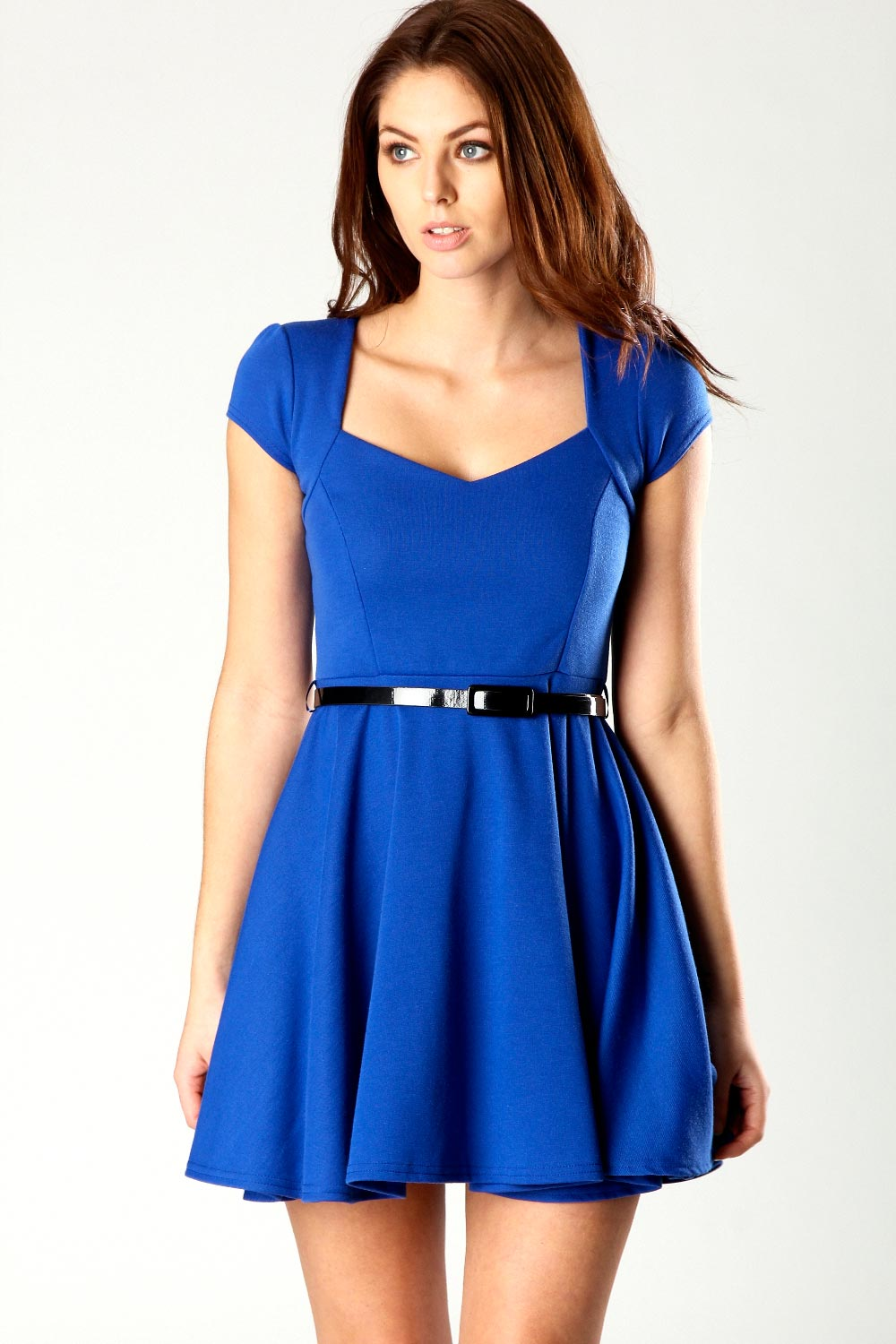 Boohoo Lara Sweetheart Neck Skater Dress in Blue BNWT  b51c3a018