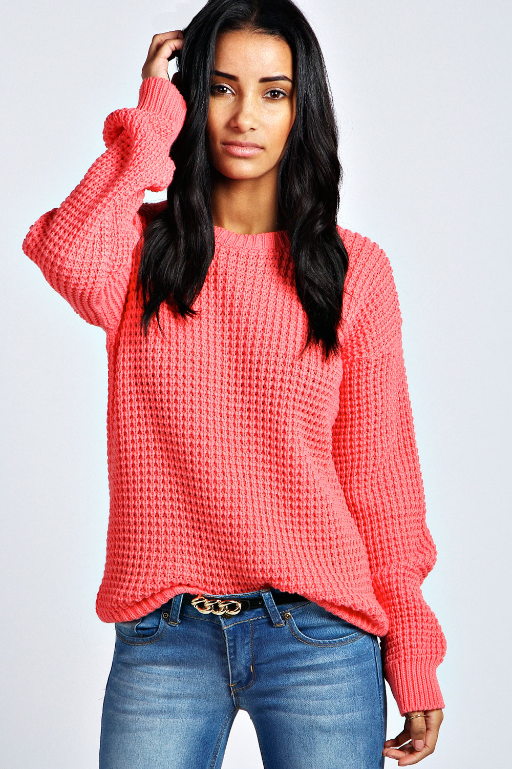 Boohoo-Womens-Ladies-Annie-Long-Sleeve-Oversized-Vintage-Jumper
