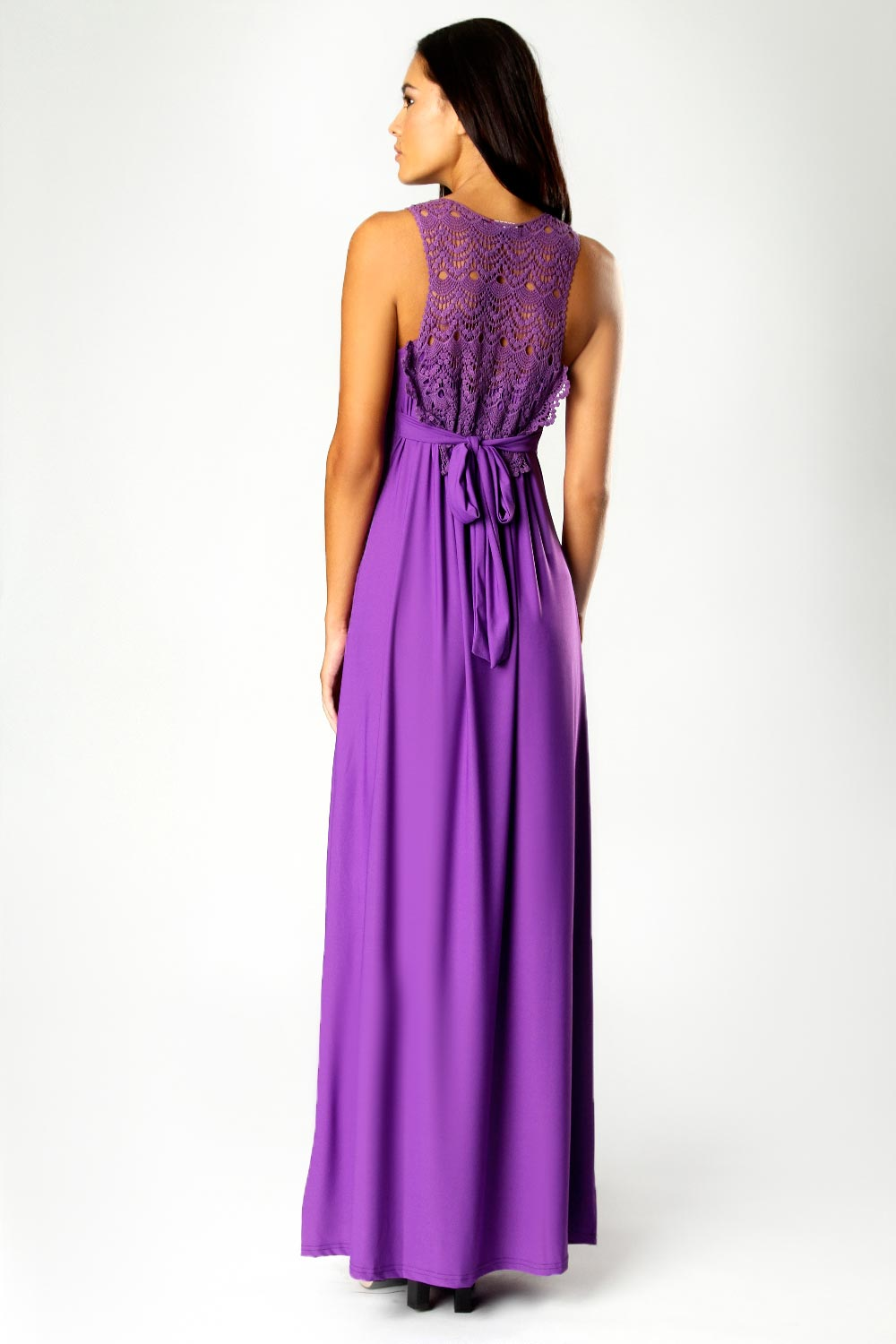 Boohoo Jess Crossover Front Lace Back Maxi Dress in Purple | eBay