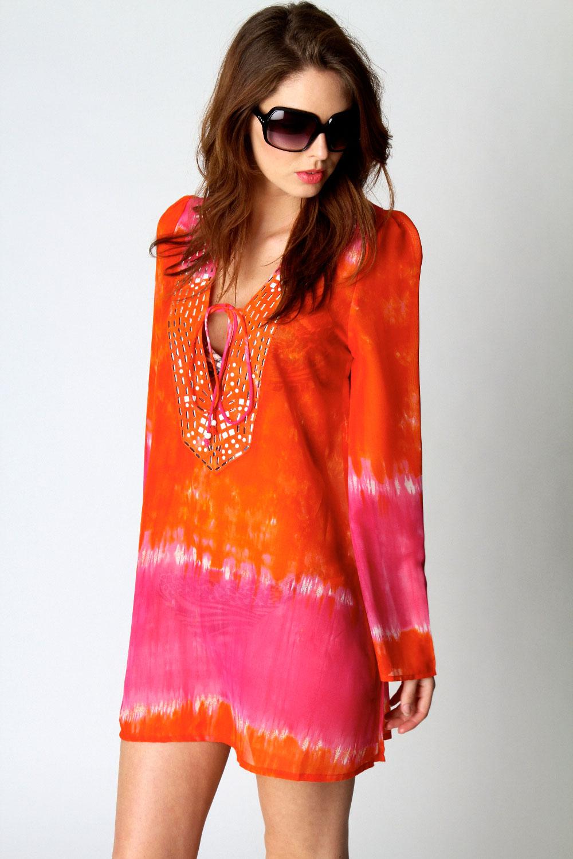 Boohoo-Sofie-Tye-Dye-Print-Long-Sleeve-Top-Tunic-Georgette-Kaftan