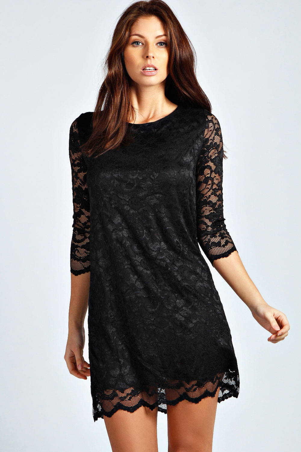 Boohoo-Womens-Ladies-Hayley-Crew-Neck-Lace-3-4-Sleeve-Shift-Dress