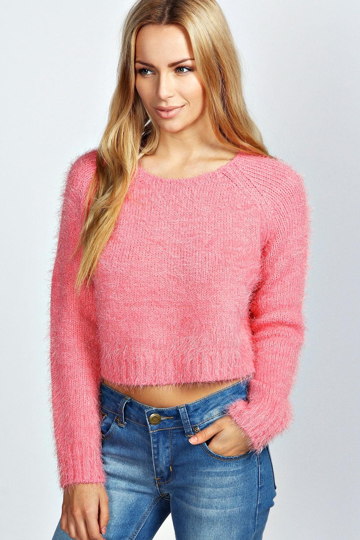 Boohoo Womens Ladies Katie Long Sleeve Crop Knit Fluffy Jumper | eBay