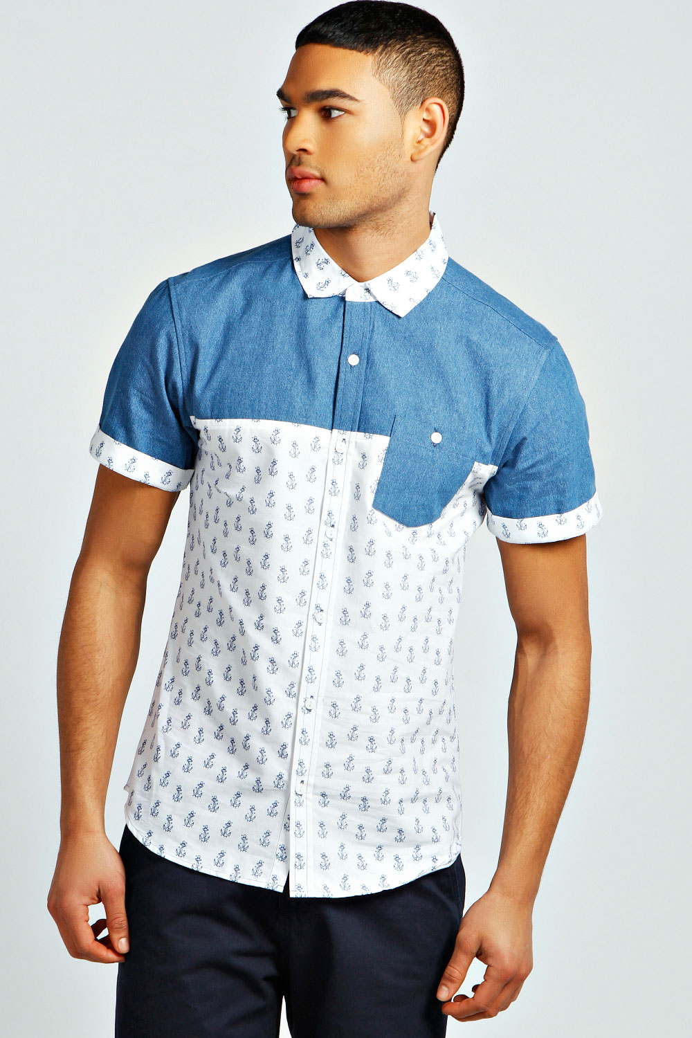 Boohoo-Mens-Short-Sleeve-Nautical-Print-Denim-Shirt-in-White