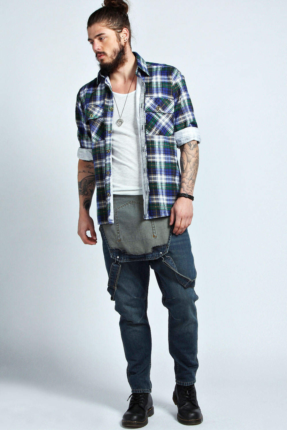 boohoo mens dark washed dungaree in denim ebay. Black Bedroom Furniture Sets. Home Design Ideas