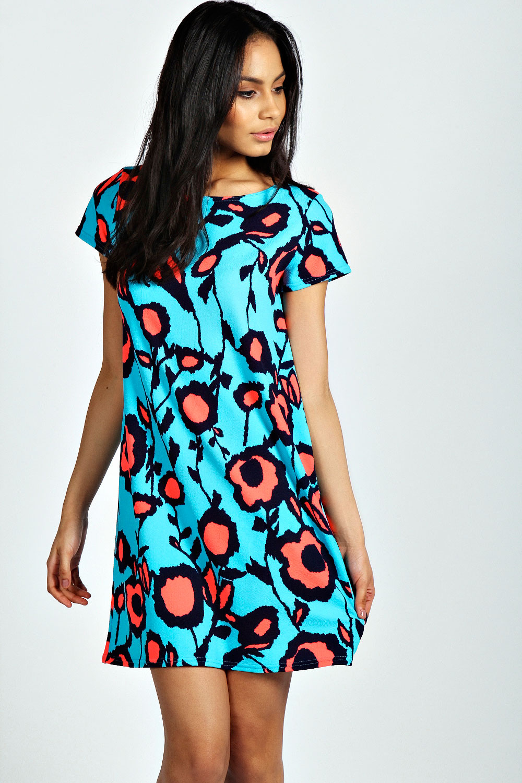 Boohoo-Womens-Ladies-Becki-Short-Sleeve-Neon-Shift-Dress-In-Multi