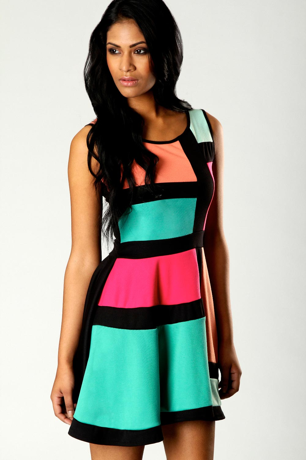 Boohoo-Candy-Colour-Block-Skater-Dress