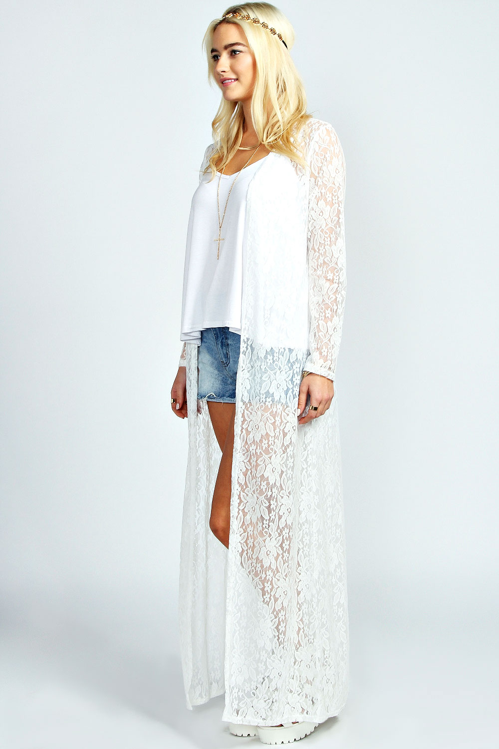 cream lace long kimono to wear over a sun dress