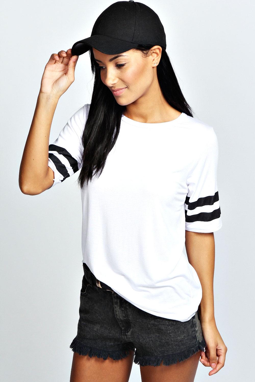 Boohoo womens ladies poppy basic baseball tee top in white for Best baseball t shirts