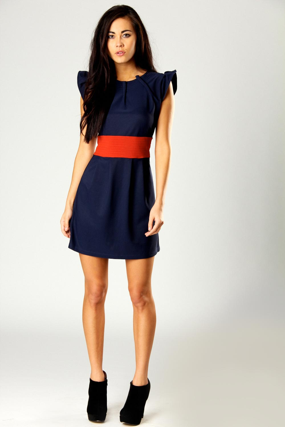 Boohoo-Renee-Shoulder-Detail-2-In1-Belted-Dress-BNWT