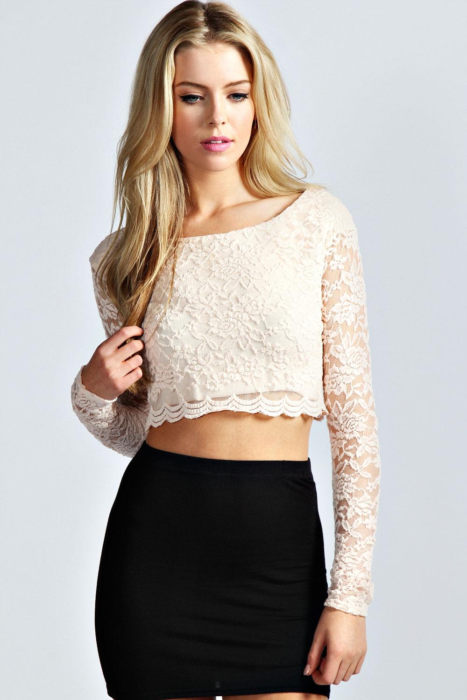 Boohoo Womens Ladies Sienna Long Sleeve Lace Crop Top