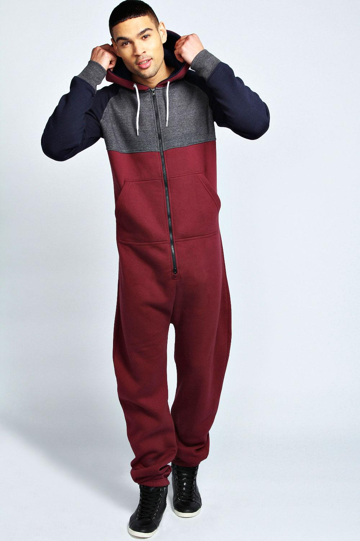 Boohoo mens long leeve contrast raglan onesie ebay for Mens dress shirt onesie