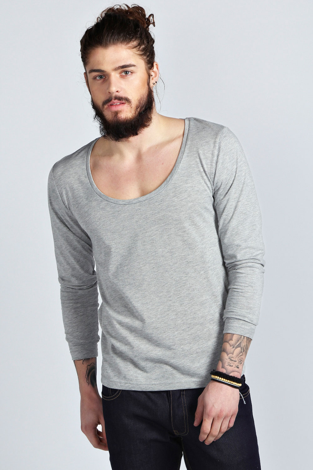 boohoo mens basic long sleeve scoop neck top t shirt ebay