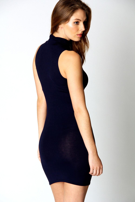 Boohoo-Womens-Ladies-Lydia-High-Neck-Jersey-Bodycon-Dress