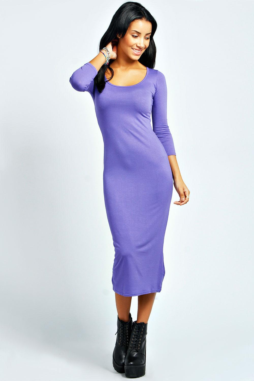 Boohoo-Womens-Ladies-Philippa-3-4-Sleeve-Midi-Dress
