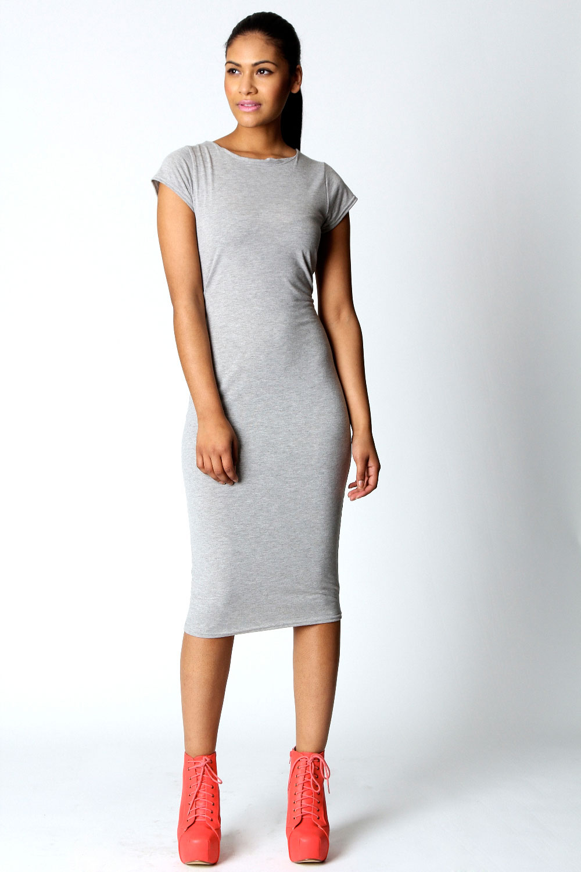 Boohoo-Womens-Ladies-Cara-Cap-Sleeve-Jersey-Bodycon-Midi-Dress
