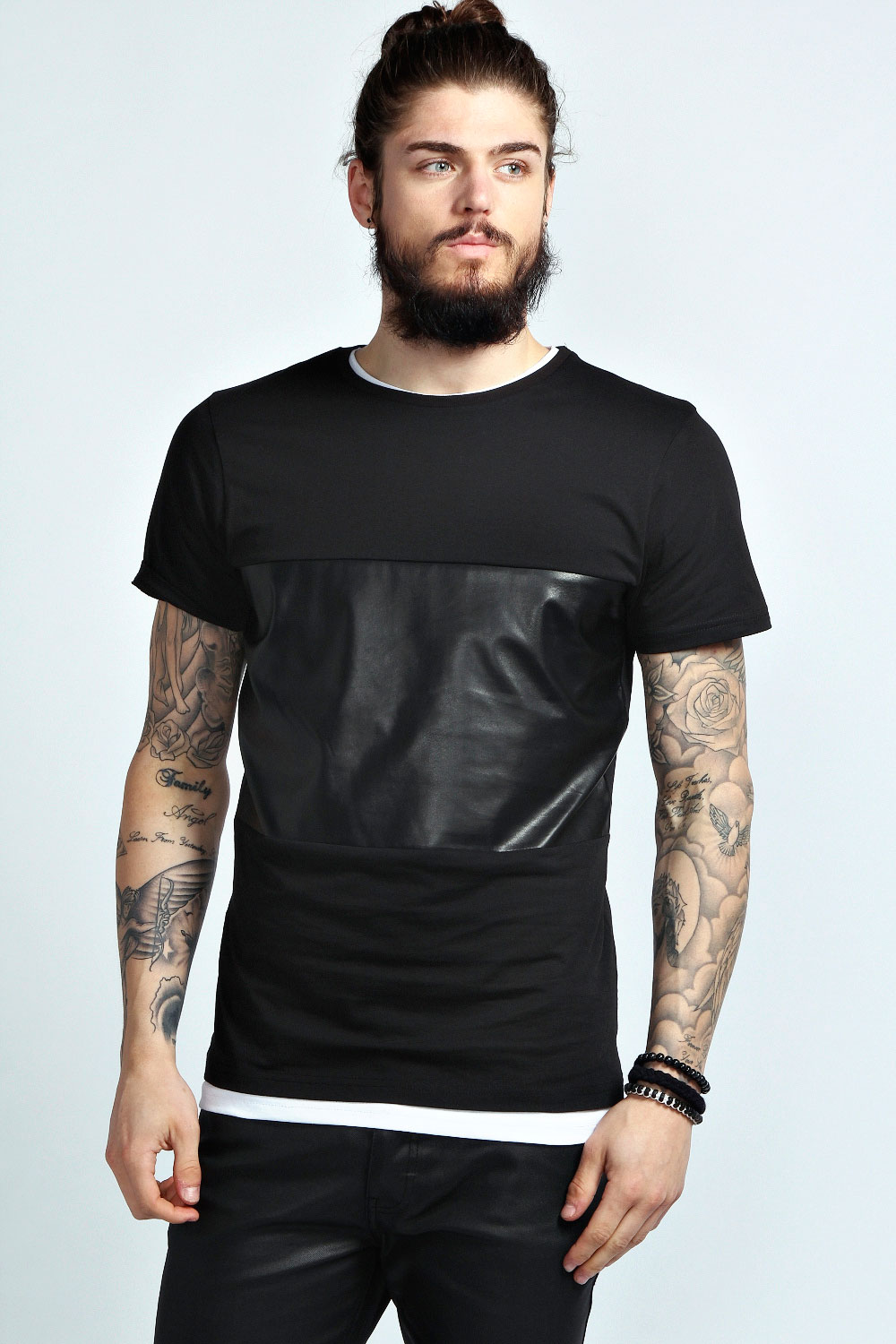 Boohoo mens short sleeve pu panel tee top t shirt ebay for Model black t shirt