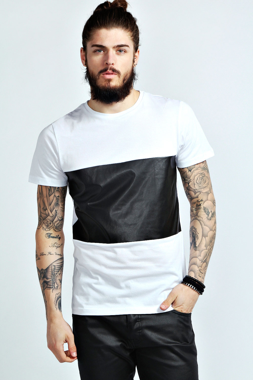 Boohoo mens short sleeve pu panel tee top t shirt ebay for Short t shirt men