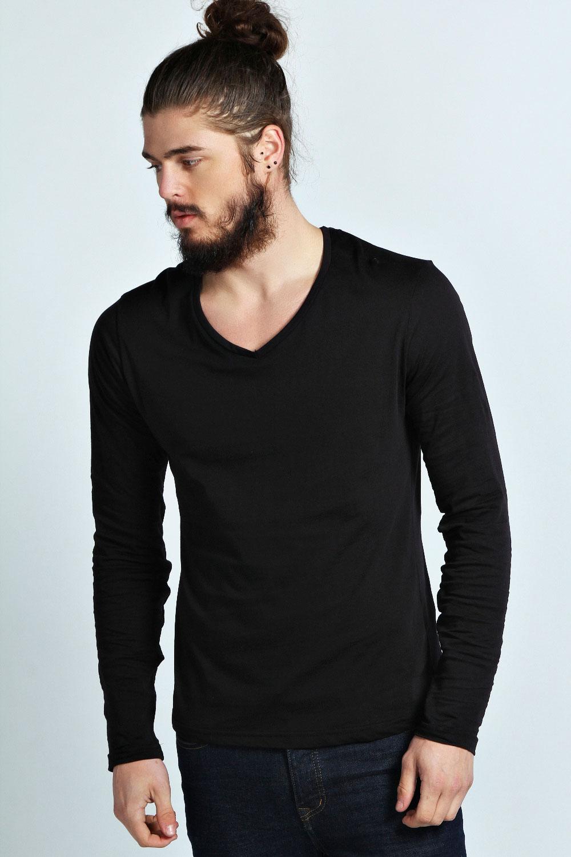 Boohoo mens long sleeve basic v neck tee top t shirt ebay for Best v neck t shirts