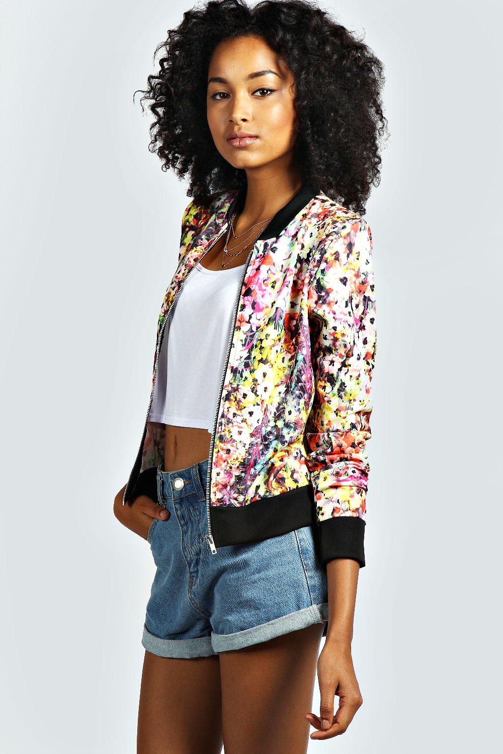 Boohoo Womens Ladies Elise Floral Print Bomber Jacket In Multi | eBay