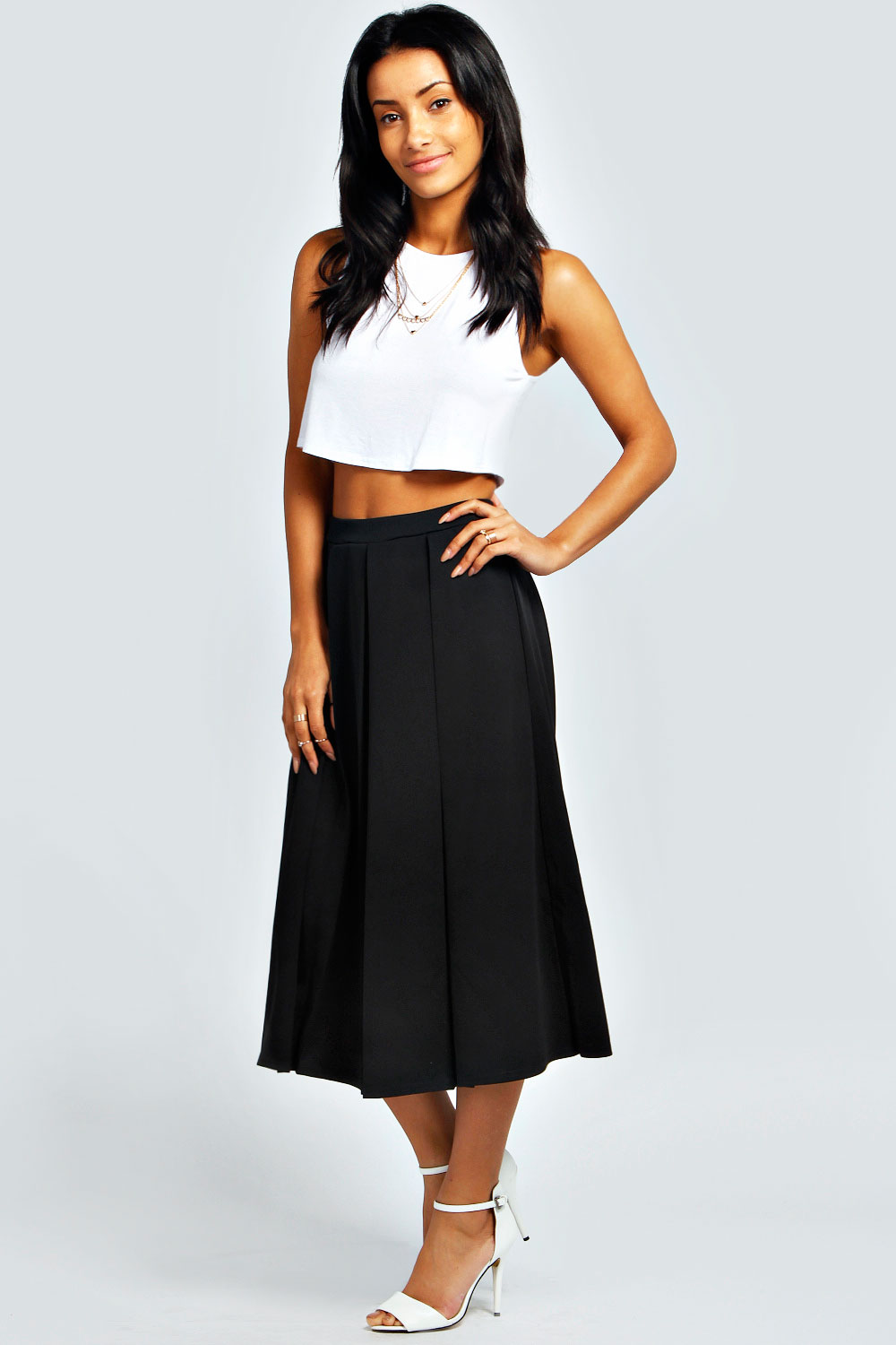 Boohoo Womens Ladies Bea Calf Length Box Pleat Scuba Midi Skirt | eBay