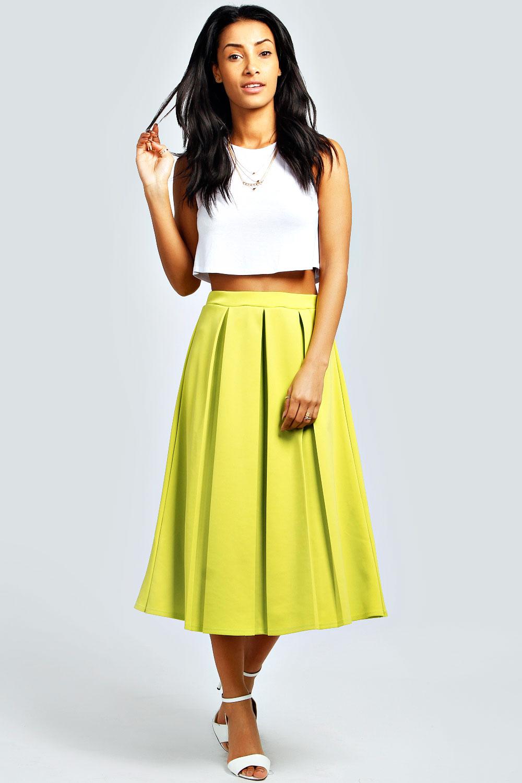 Boohoo Womens Ladies Bea Calf Length Box Pleat Scuba Midi Skirt | eBay