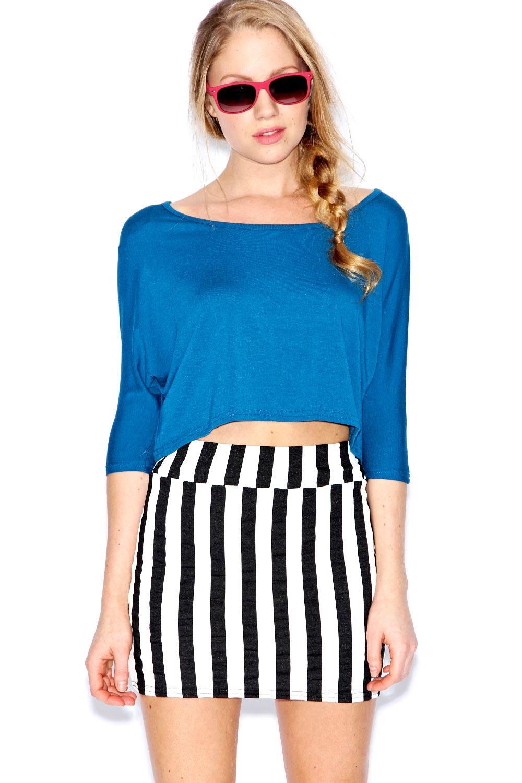 Boohoo-Mina-Monochrome-Striped-Bodycon-Skirt