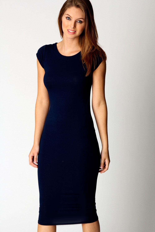 Black dress jersey - Boohoo Womens Ladies Cara Cap Sleeve Jersey Bodycon Midi Dress