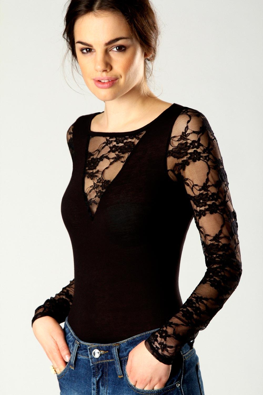boohoo womens ladies vivienne lace insert long sleeve body top bnwt. Black Bedroom Furniture Sets. Home Design Ideas