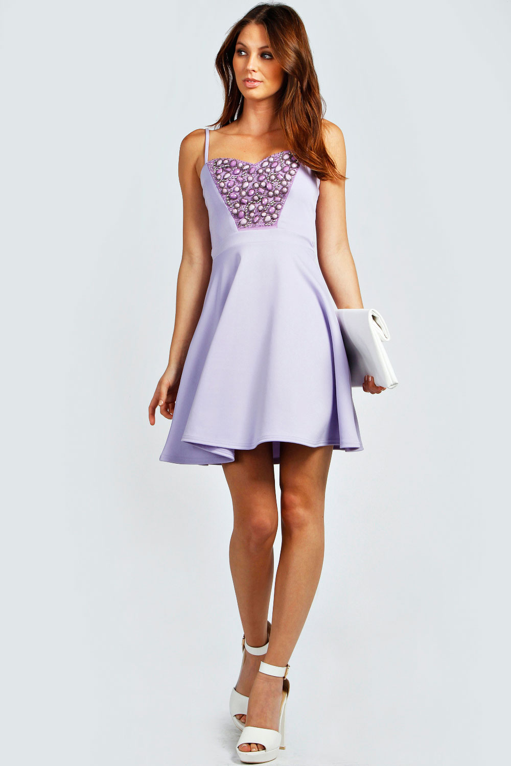 Boohoo-Womens-Ladies-Maya-Embellished-Sweetheart-Neck-Strappy-Skater-Dress