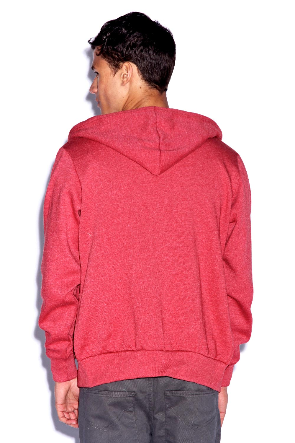 Boohoo-Mens-Red-Melange-Basic-Plain-Full-Zip-Hoody-Top