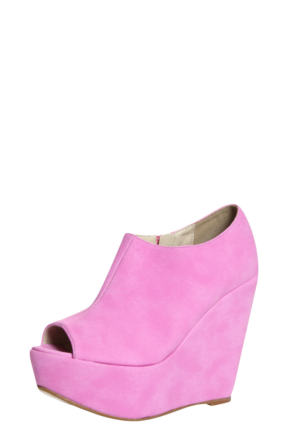 boohoo thalia lilac leather look wedge shoe boots in lilac
