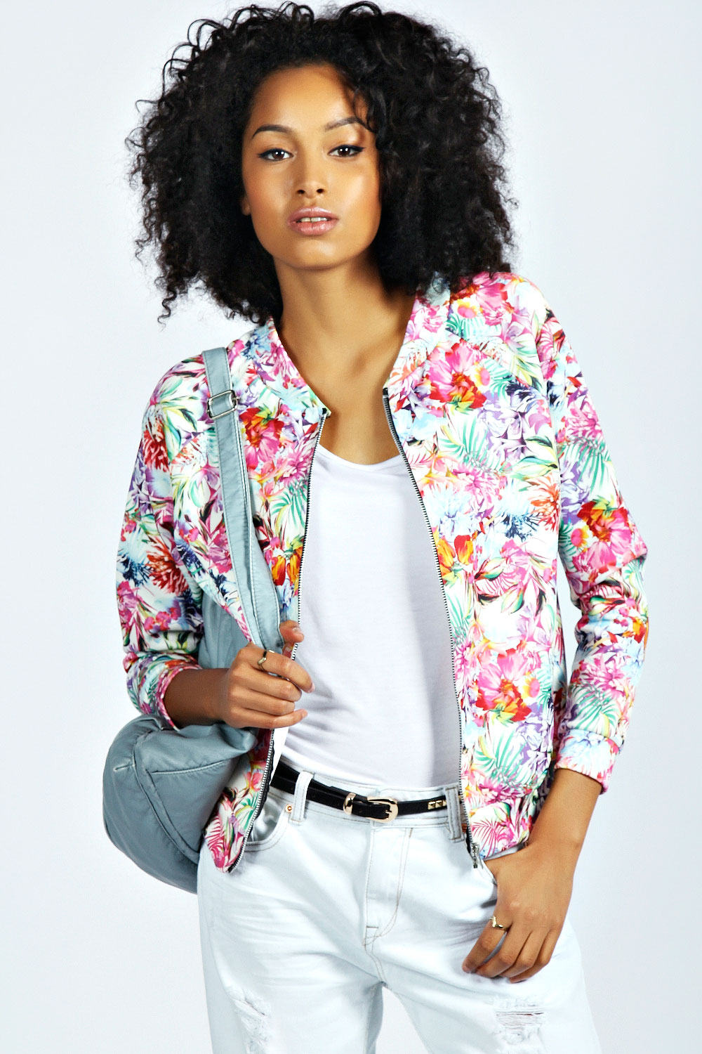Boohoo Womens Ladies Caitlyn Tropical Floral Print Bomber Jacket ...